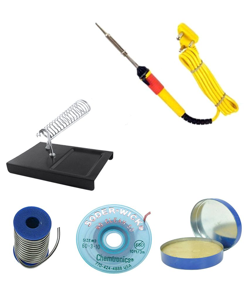 buy easy electronics yellow 25 watt soldering iron kit best prices snapdeal. Black Bedroom Furniture Sets. Home Design Ideas