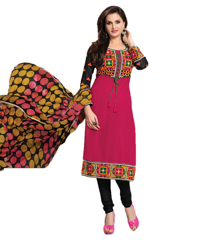 Indian wholesale clothing pink faux georgette dress for Cheap clothing material