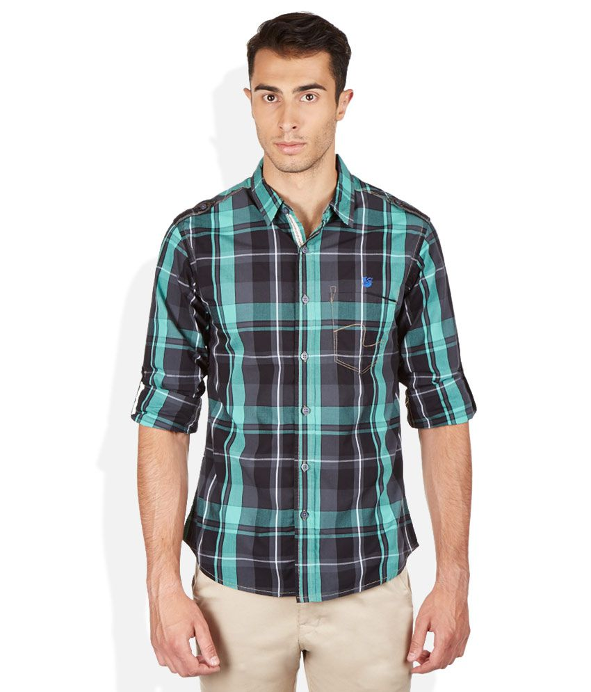Spykar green plaid shirt buy spykar green plaid shirt for Buy plaid shirts online