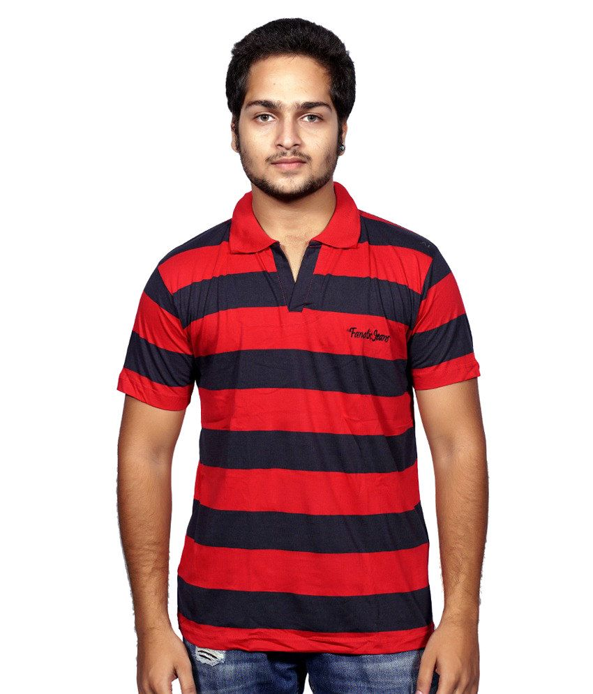 Fanatic Red And Blue Cotton Polo T Shirt Buy Fanatic Red