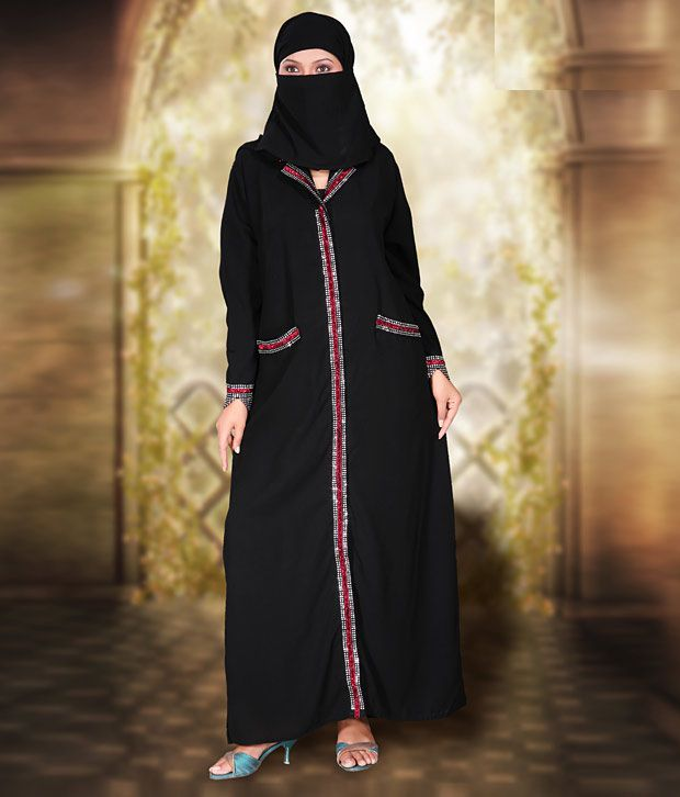 Pehnava Delightful Black Crepe Burqa With Hijab