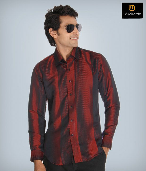 La Miliardo Maroon Cotton Blend Shirt