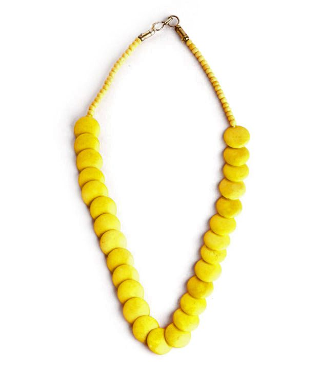 Go Hooked Classic Yellow Resin Necklace
