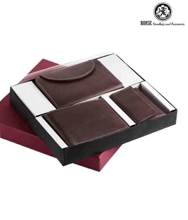 Borse Brown Textured Finish Ladies Wallet, Gents Wallet & Keyring Pouch Combo Set