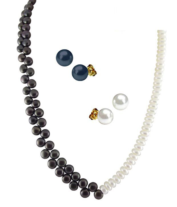 Sri Jagdamba Pearls Black & White Pearl Necklace Set With Double Earrings Pair