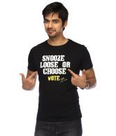 Life-Mens Short Sleeves Round Neck Slim Fit Black Voting Slogan Print T-shirt