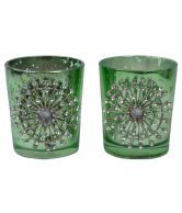 Kaaya Creation Set Of 2 Star Design Glass T-Lite Votives Green