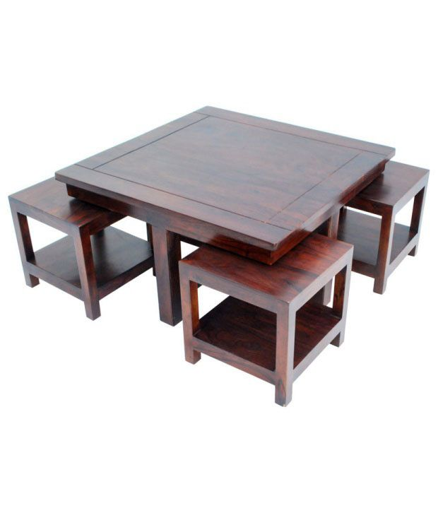 Ethnic Handicrafts Coffee Table And Stool Set: Buy Online