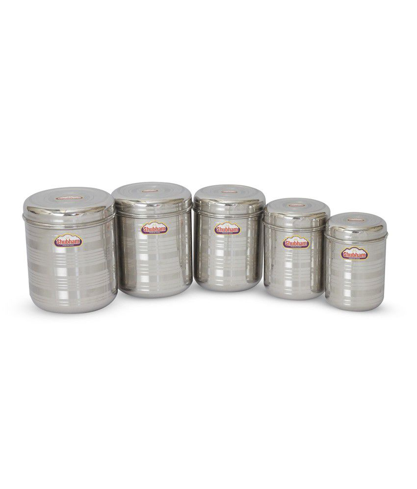 Shubham Kitchen Storage Steel Container Jar 5 Pc Set Oranges10 14 Buy Online At Best Price In