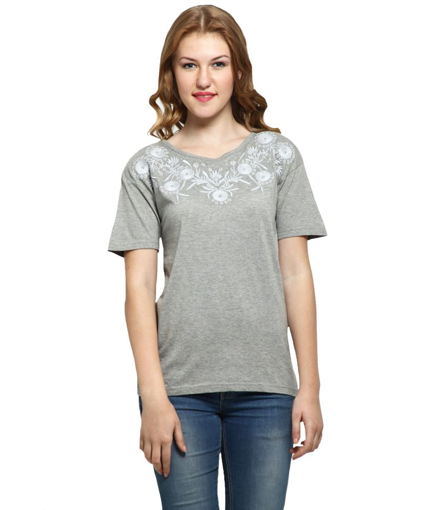 buy alpha lady gray cotton tees online at best prices in india snapdeal. Black Bedroom Furniture Sets. Home Design Ideas