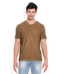 John Players Brown Cotton V-Neck T-Shirt