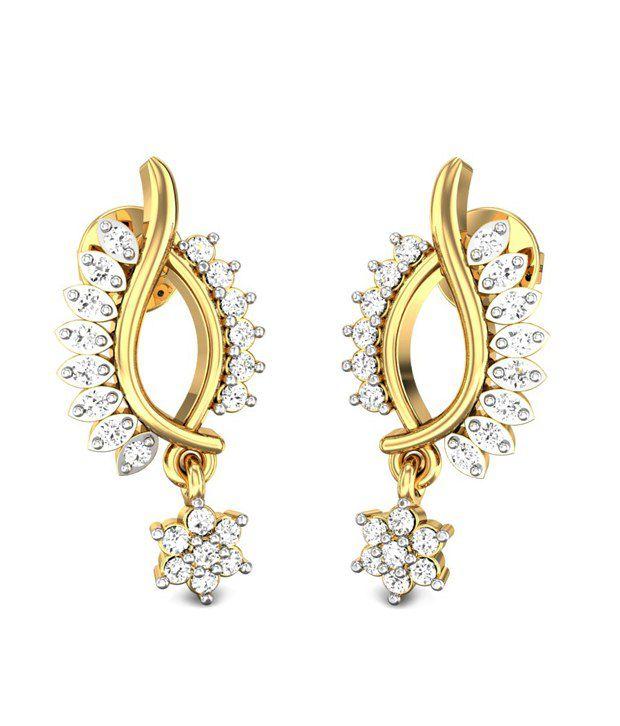Candere Julie Diamond Earrings Yellow Gold 14K