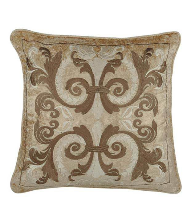 House Of Lotus Beige Embroidery Cushion Cover