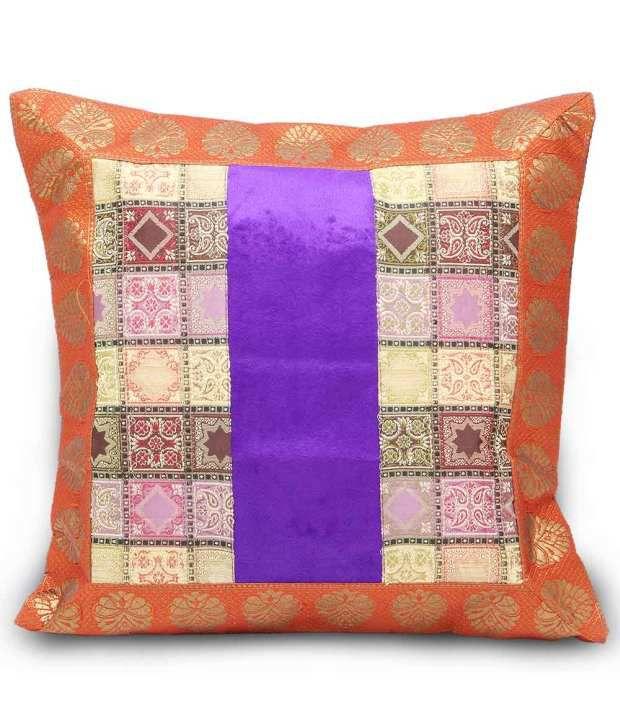 Jaipur Raga Blue Cotton Printed Zipper Cushion Cover