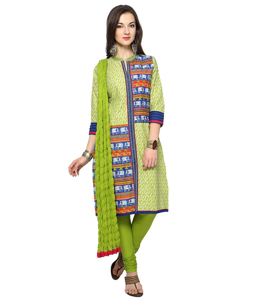 Trishaa by Pantaloons Green Cotton Stitched Suit