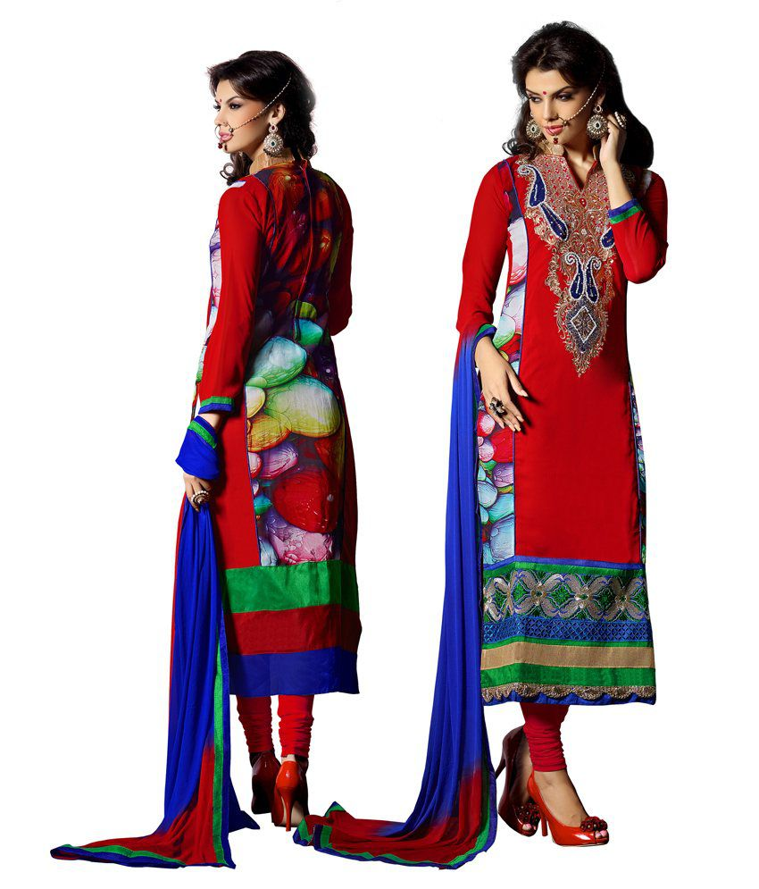 Anarkali Red Faux Georgette Stitched Suit