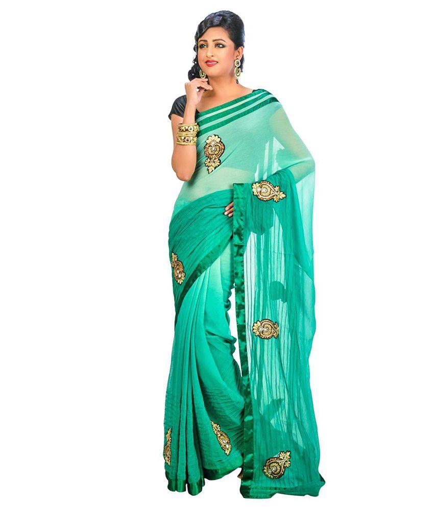 Indian Saree Mandir Green Faux Chiffon Saree