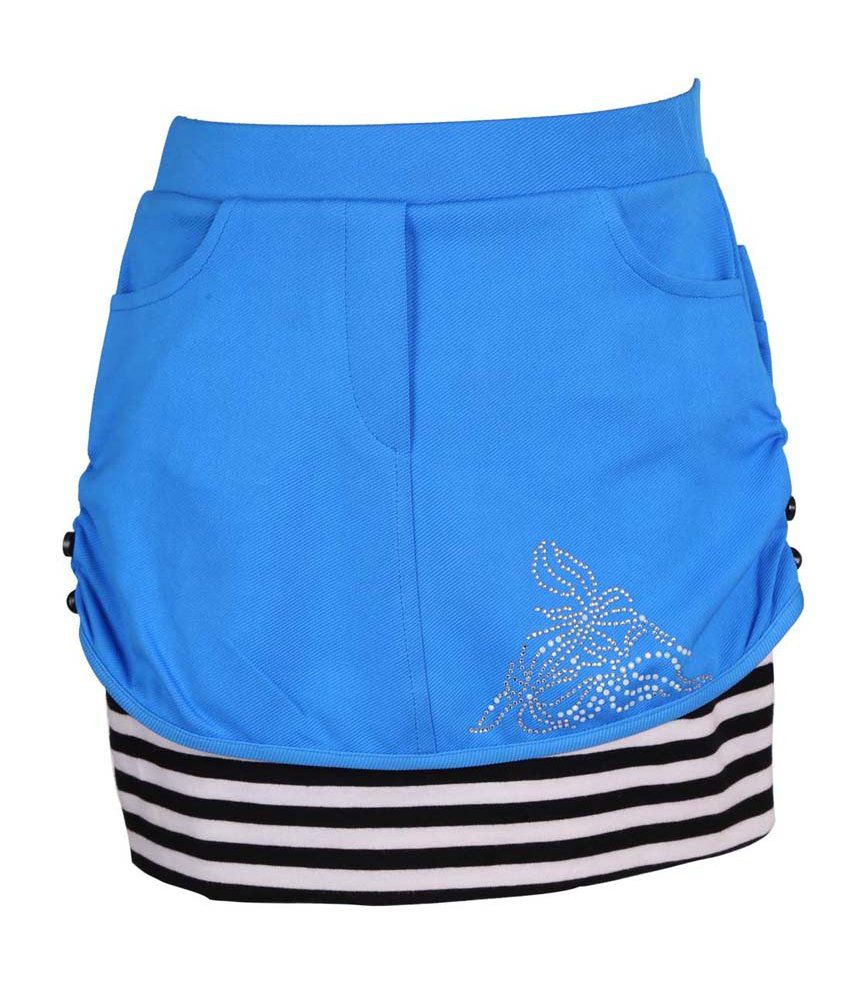 Leichie Blue Synthetic Elastic Skirt