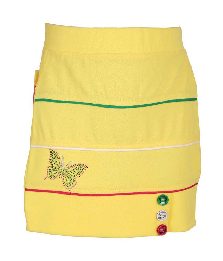 Leichie Yellow Synthetic Elastic Skirt