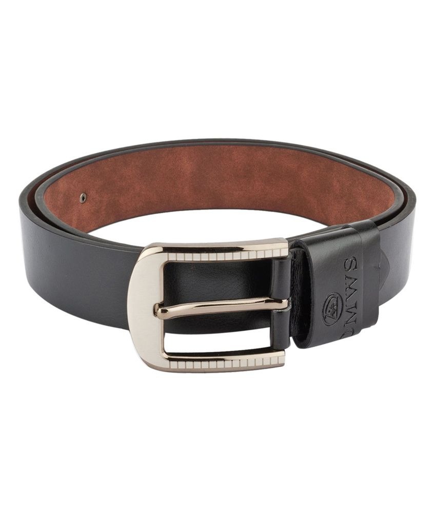Swiss Design Men Casual Black Leatherite Belt - SDBLT-05-BLK
