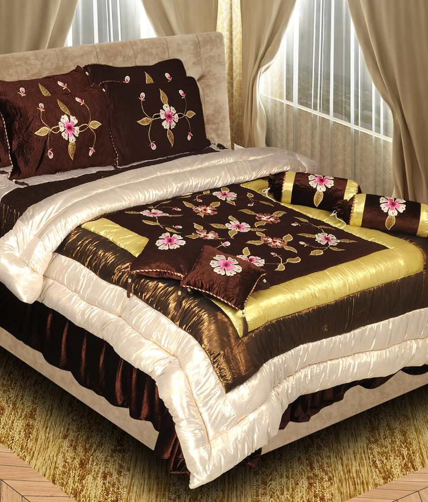 Angiela Home Fab Brown Embroidery Wedding Bedroom Set Pack Of 8 Buy Angiela Home Fab Brown