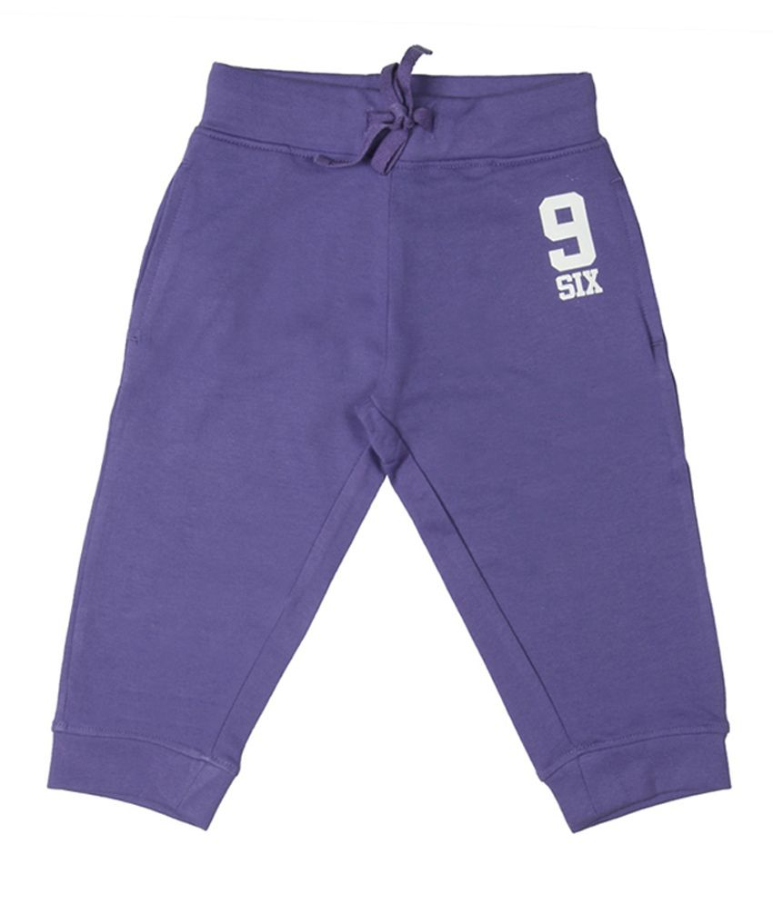 Chalk by Pantaloons Purple Cotton Knit Capris
