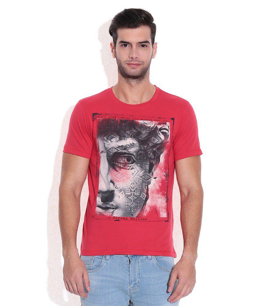 Flying Machine Red Round Neck T Shirt