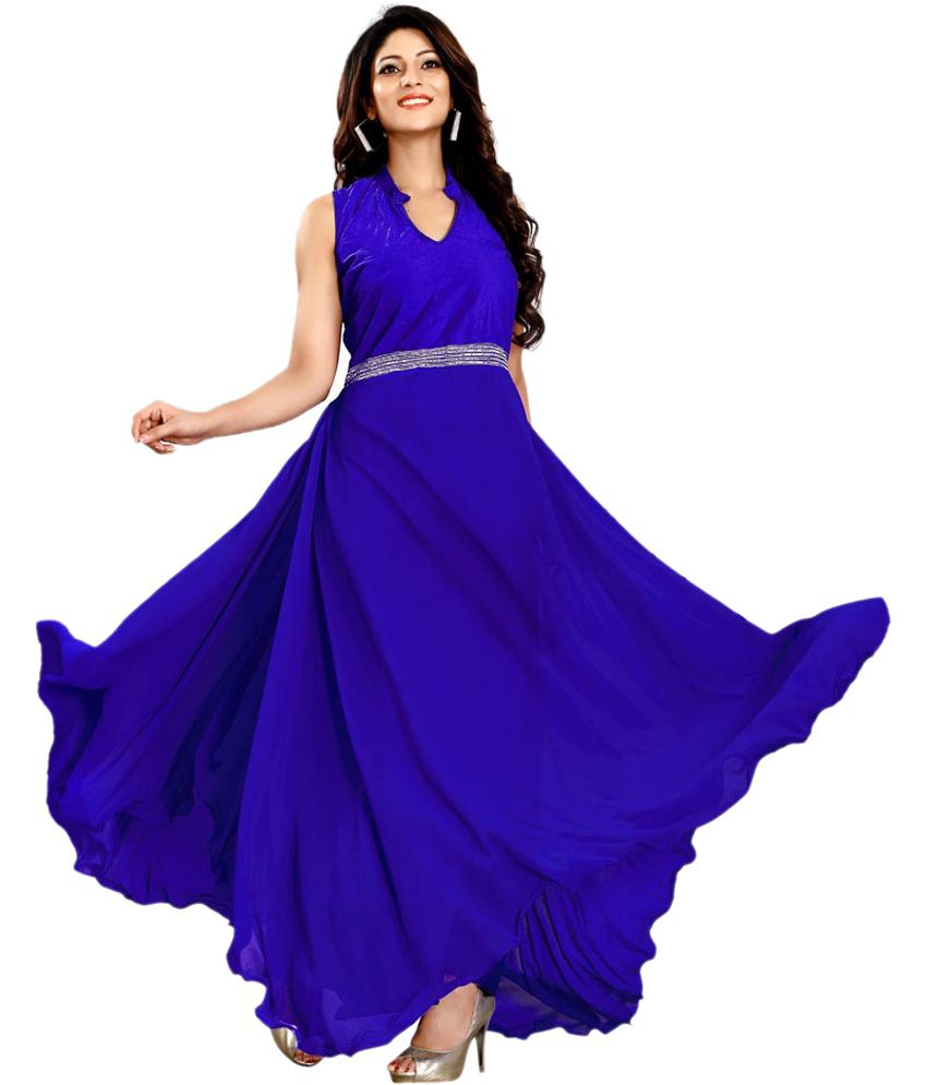 b20614a1f3d Banjara Sellers Blue Georgette Gowns - Buy Banjara Sellers Blue Georgette  Gowns Online at Best Prices in India on Snapdeal