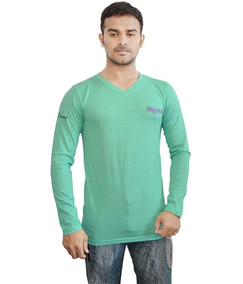 Harsha Green Cotton V-Neck Full Sleeves T-shirt