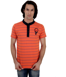 Ozzarkco Orange Cotton Half Sleeves Round Neck Tshirt