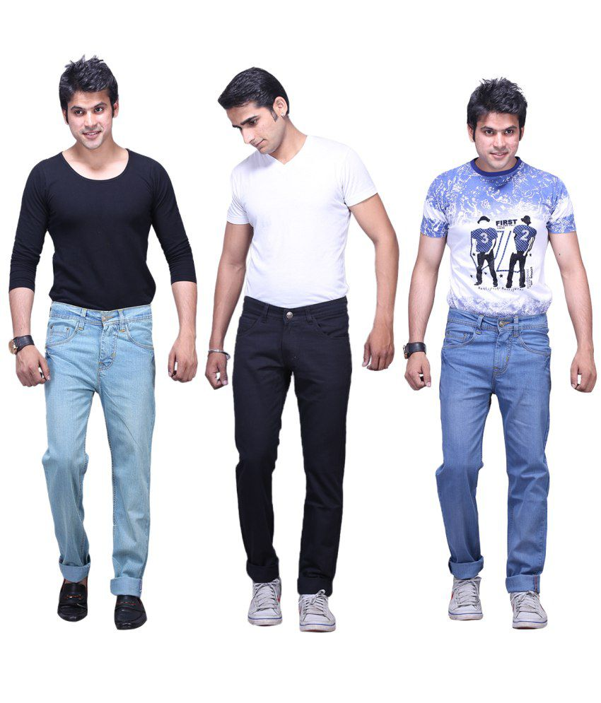 X-cross Multicolour Cotton Blend Jeans For Men Pack Of 3