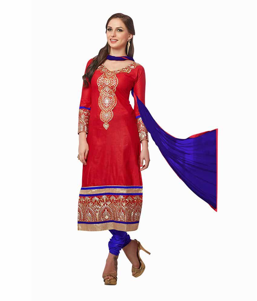 Navika Fashion Red Chanderi Unstitched Dress Material