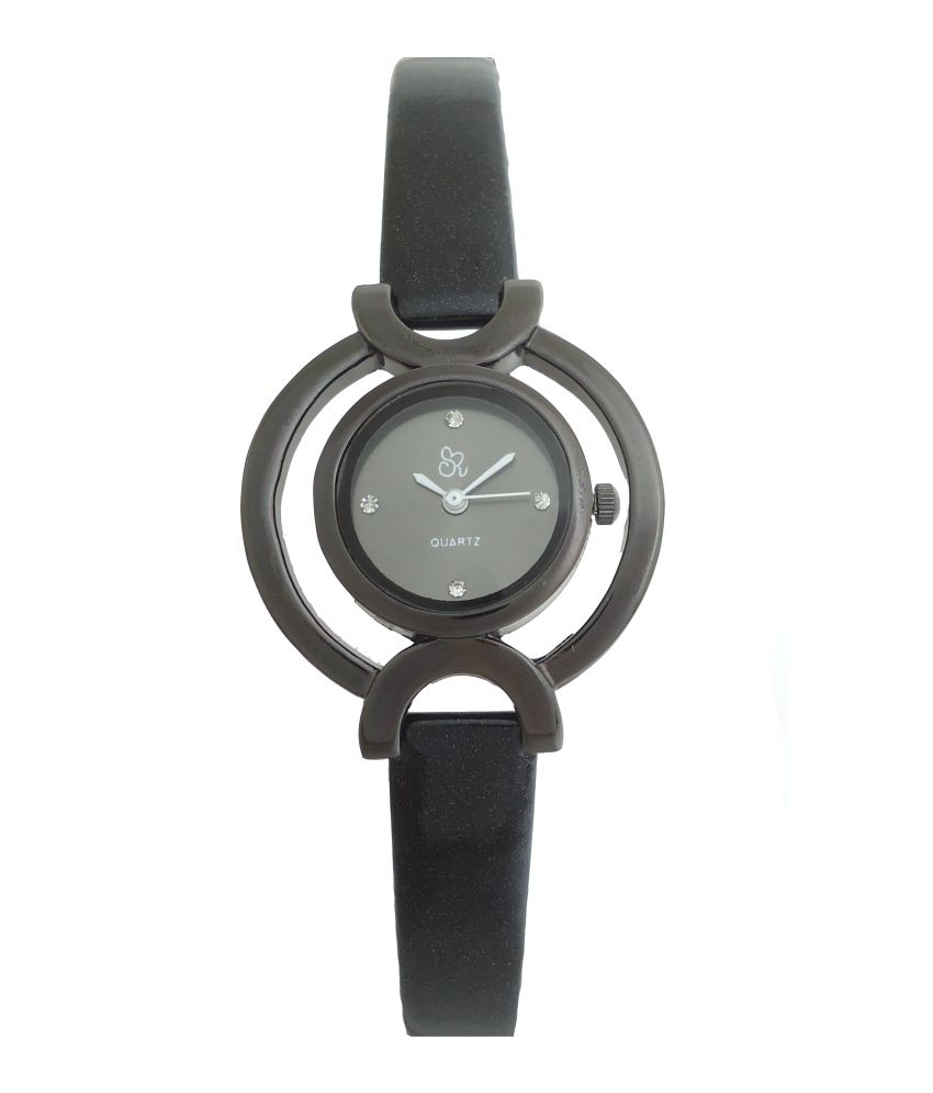 S R Collection S R Collection Black Leather Formal Analog Watch