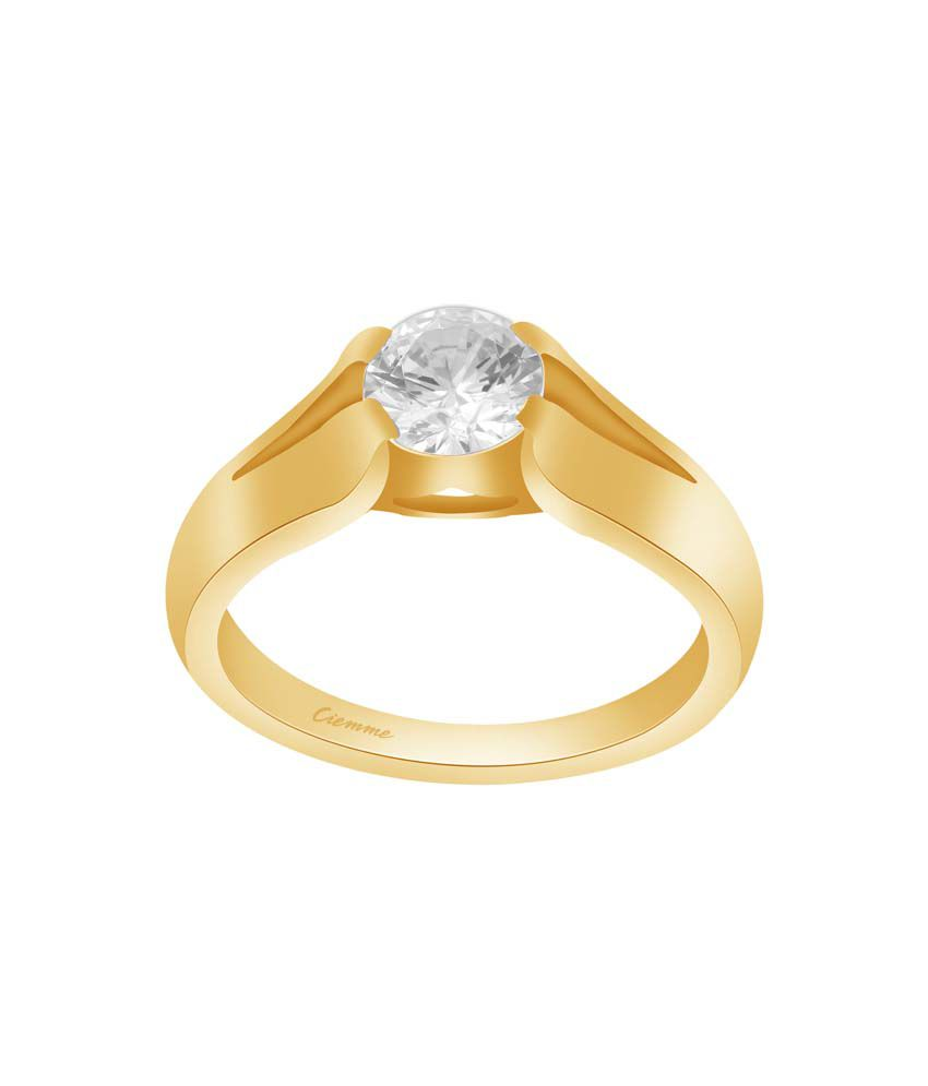 Ciemme 2.00 Ct CZ 18 Kt Gold Plated 925 Sterling Silver Solitaire Ring