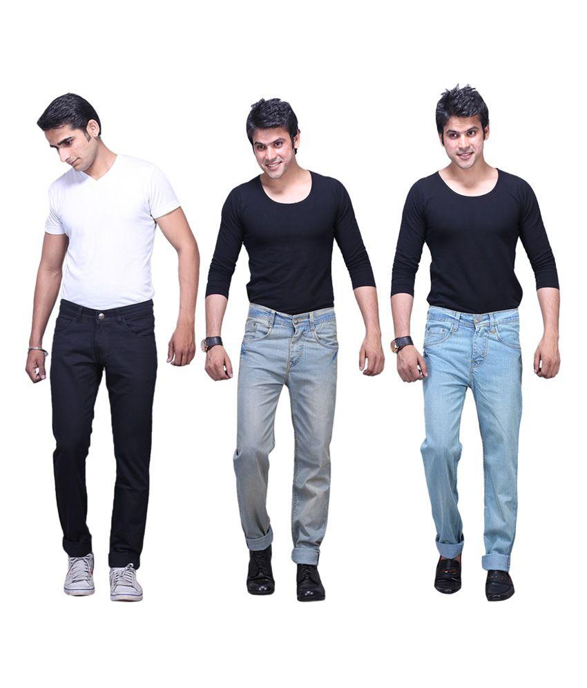 X-cross Multicolour Cotton Blend Regular Fit Jeans - Pack of 3