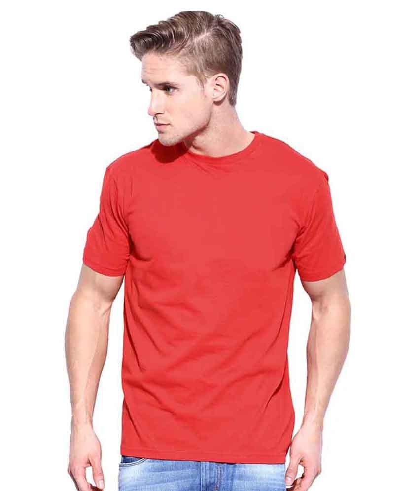 Delicate Fashion Red Cotton Round Neck Half Sleeves T-shirt