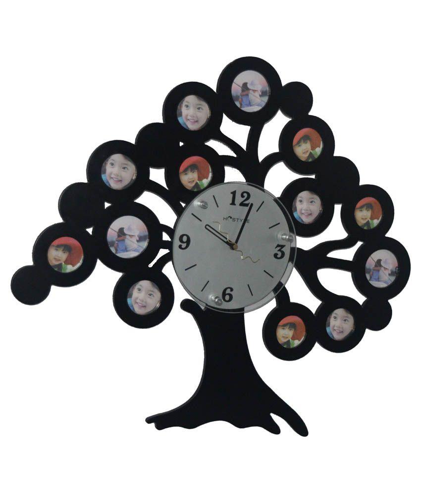 Utsav Black Steel Family Tree Photo Frame Wall Clock Buy Utsav