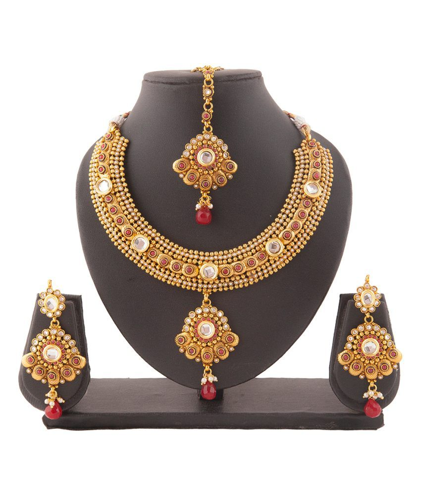 Aaina Traditional Polki Maroon Copper Necklace Set With Maang Tika