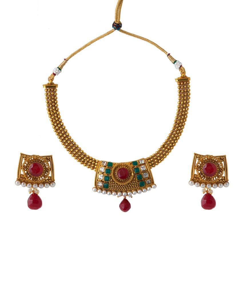 Aaina Traditional Polki Multicolour Copper Necklace Set