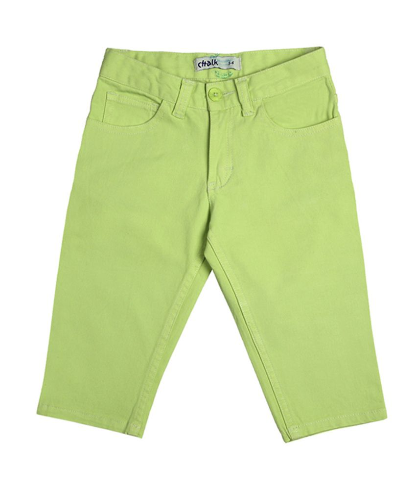 Chalk by Pantaloons Green Solid Capris