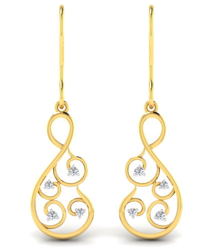 Sparkles 0.1 Ct Diamond & 18 Kt Gold Drop Earrings