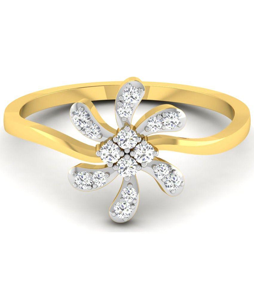Sparkles 0.16 Ct Diamond & 18 Kt Gold Ring for Women
