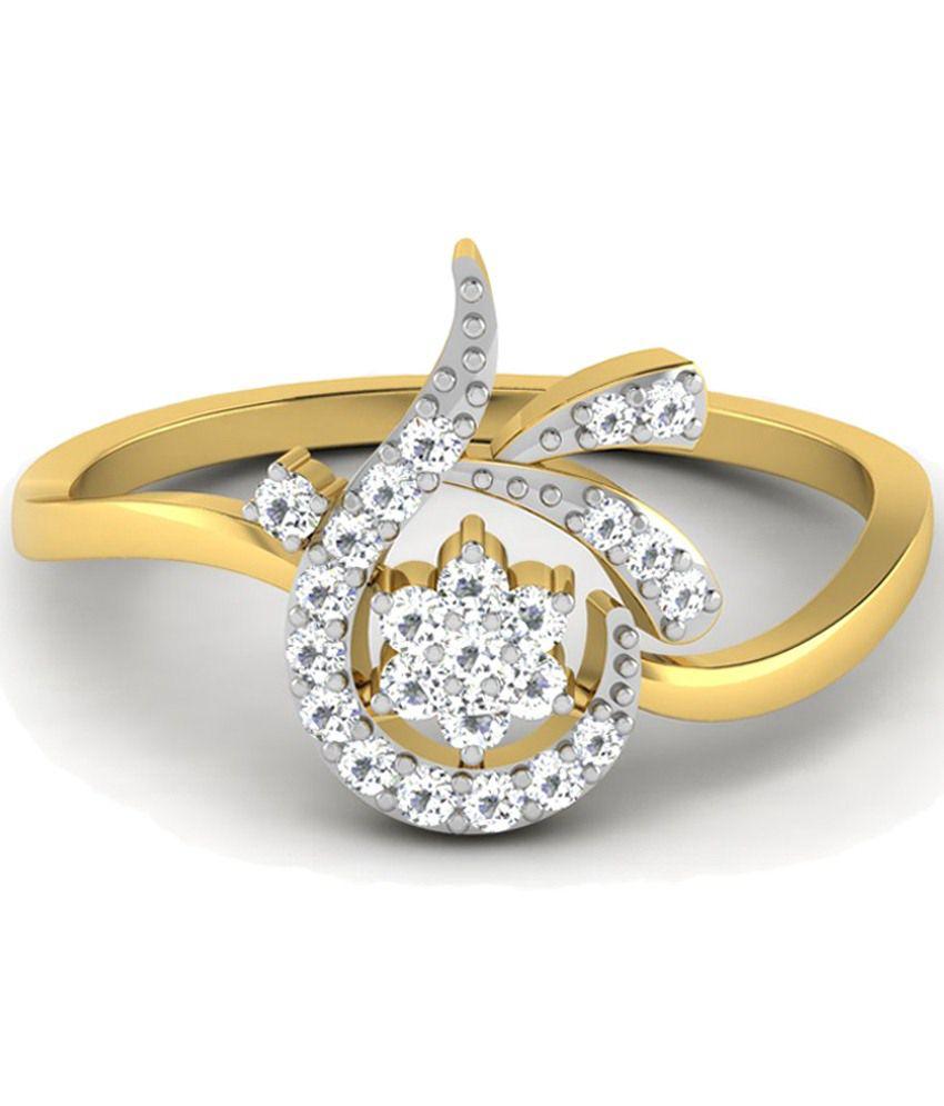 Sparkles 0.2 Ct Diamond & 18 Kt Gold Ring for Women