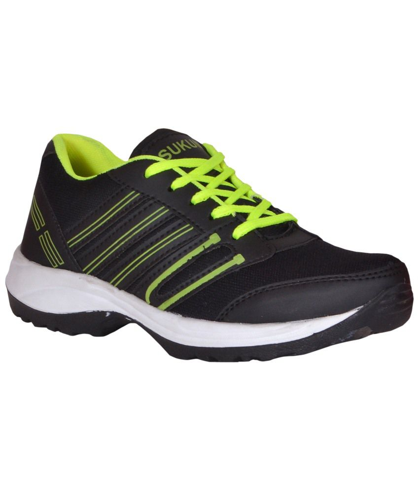 sukun black green sports shoes for buy sukun black