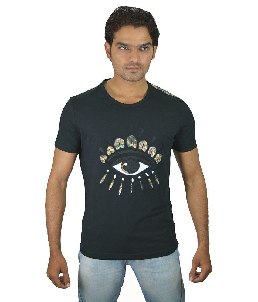 Chivas Black Cotton Blend Round Neck T Shirt