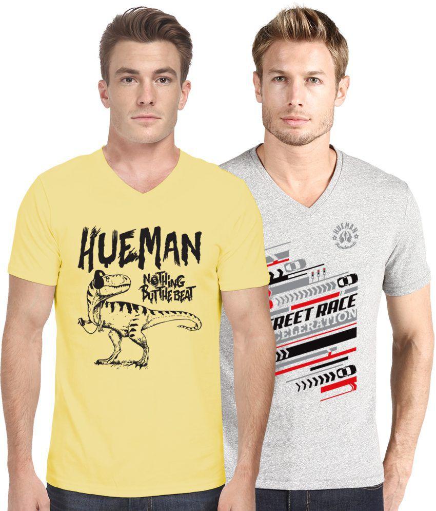 Hueman Yellow and Grey Cotton Half Sleeve T-Shirt - Pack of 2