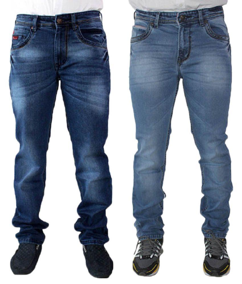 Nsum Blue Cotton Blend Jeans - Pack of 2