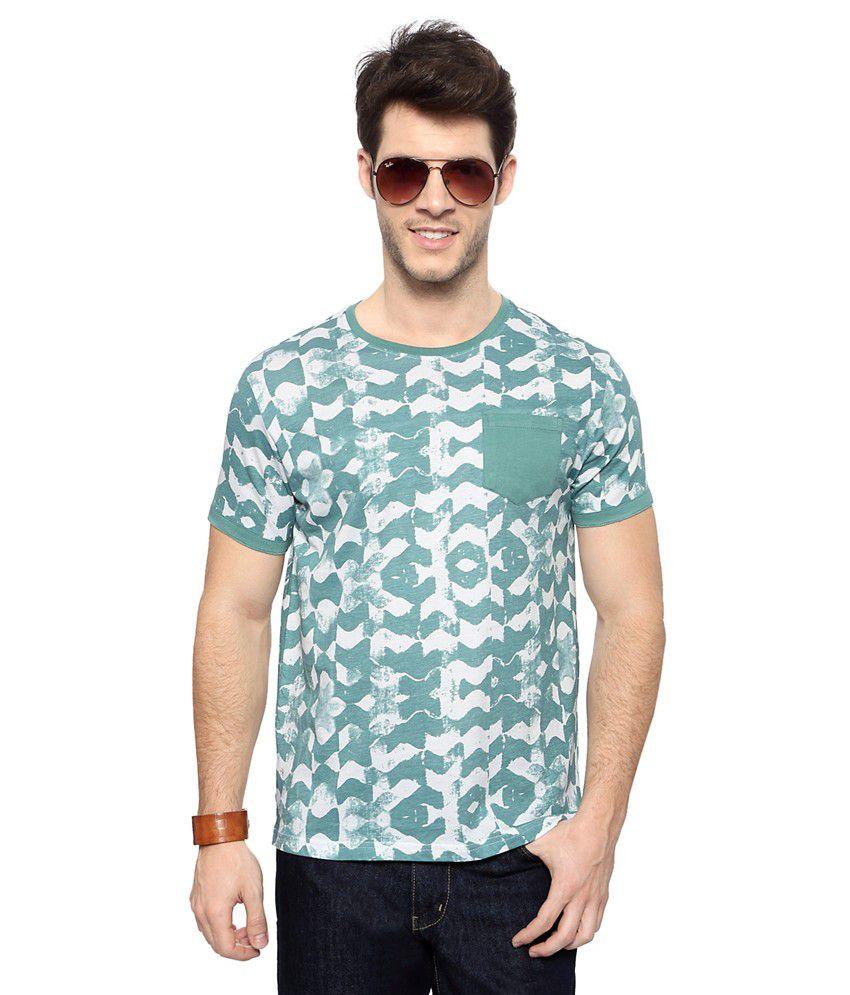 Akkriti by Pantaloons Green Printed Crew Neck T Shirt