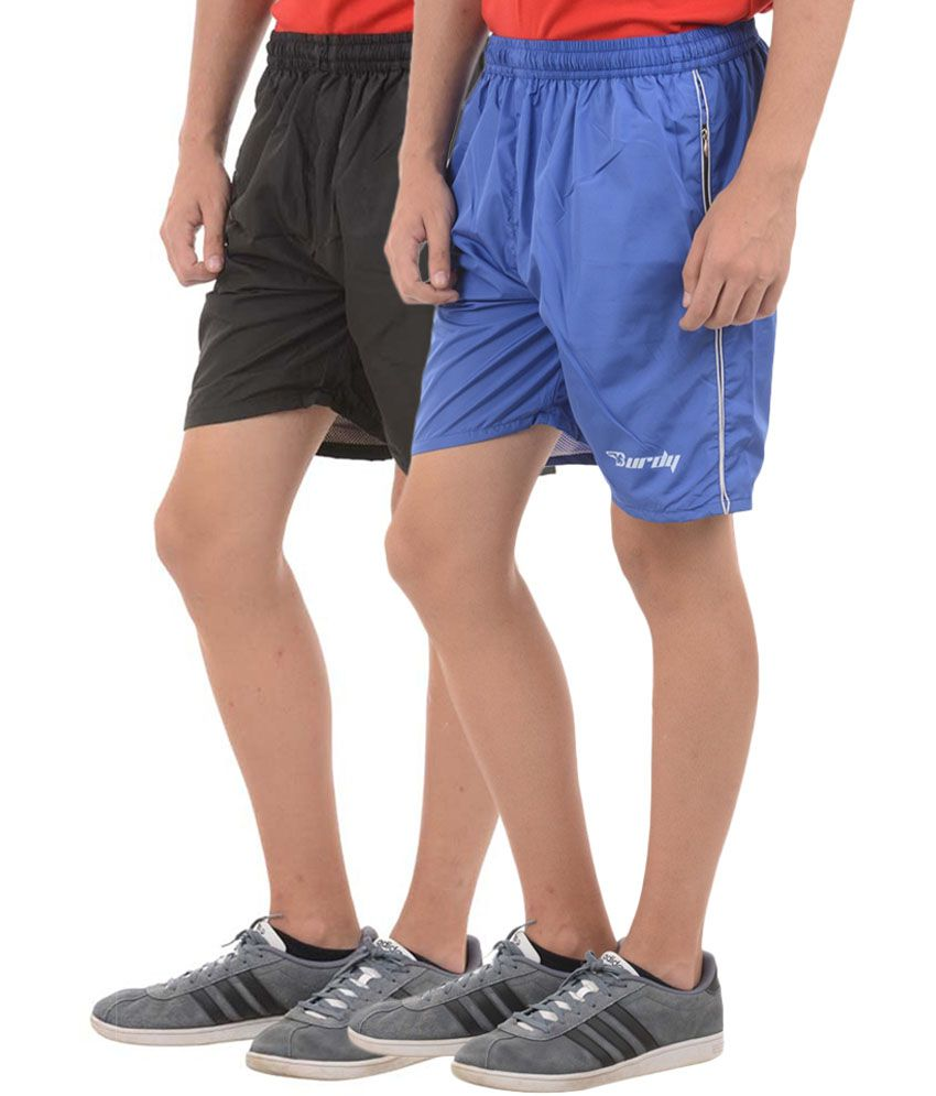Burdy Black & Blue Polyester Shorts (Pack of 2)