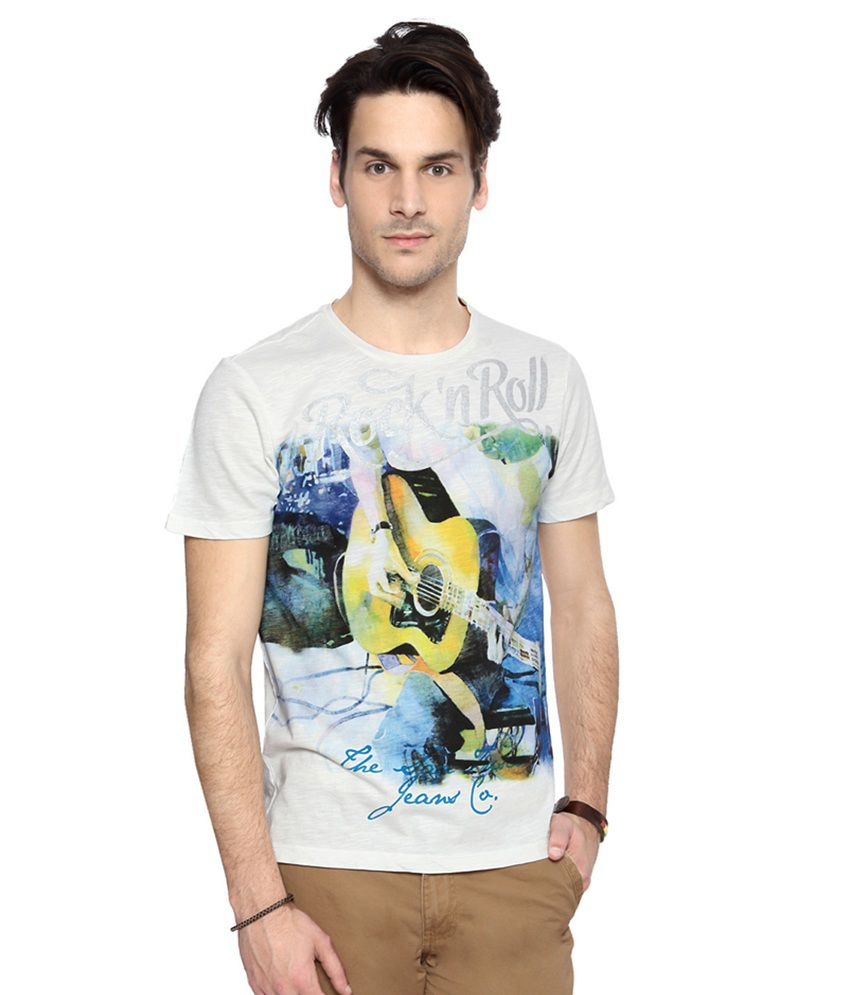 SF Jeans by Pantaloons White Printed Casual T Shirt